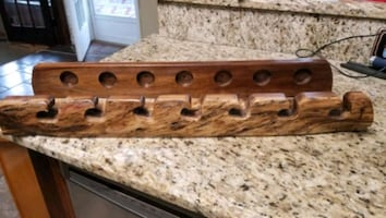 Pool cue holder, can also be used for fishing rods. Hand crafted.