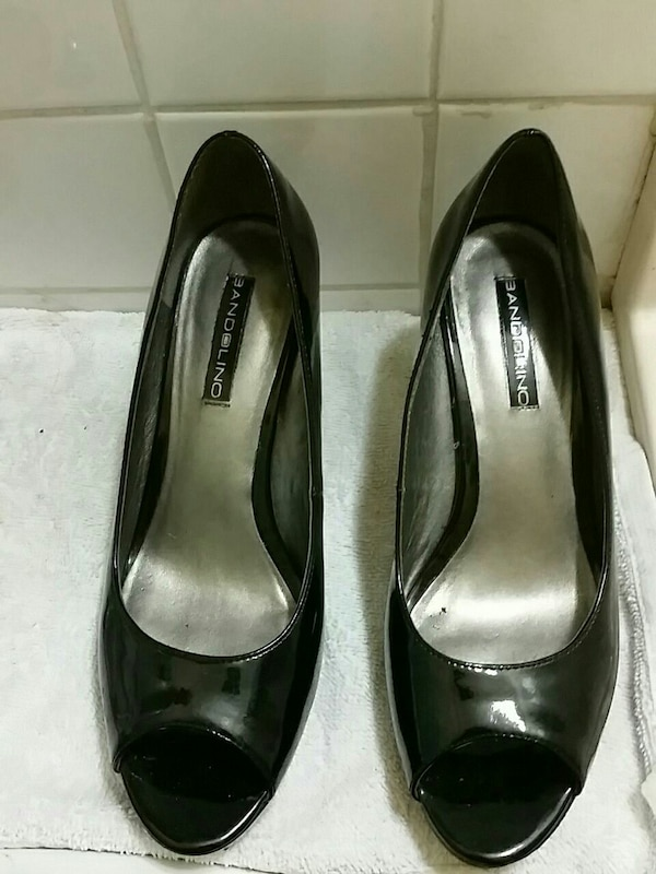 pair of black Badolino patent leather open-toe hee