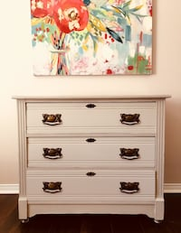 Gorgeous Antique White wooden 3-drawer chest