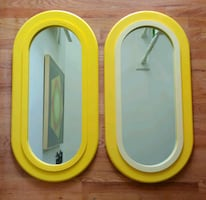 Retro vintage midmod mirror set yellow oval