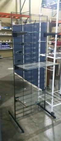 5ft tall black grid with glass shelves