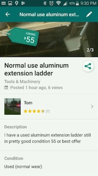Normal use of aluminum extension ladder Knoxville, 37921
