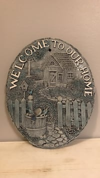 Gray ceramic welcome to our home wall plaque  Essa, L0M