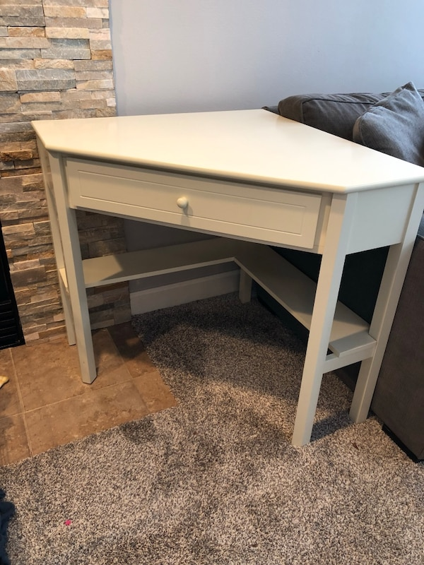 Used Cream Colored Corner Desk With Lower Shelf For Sale