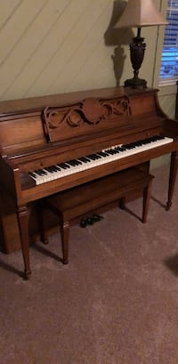 brown wooden upright piano with chair Morrow, 45152