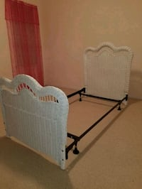 Twin white wicker headboard, footboard, frame  545 mi
