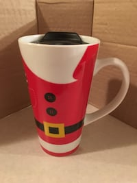 NEW Clay Art Santa Claus design travel coffee cup with lid Christmas