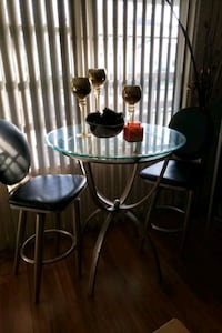 round glass top table with four chairs dining set Norfolk