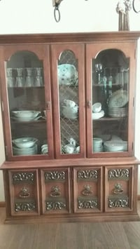 brown wooden framed glass display cabinet Iowa City, 52240