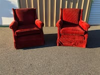 Beautiful Pair Of Red Mid-Century Chairs Wilmington