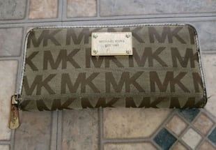 brown Michael Kors Zippper Wallet Leather Trim