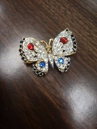 Gold Colored Avon Butterfly Pin with Different Colored Stones and CZ Stones Shippensburg