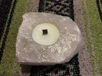 Raw Quartz Candle Holder With Organic Wax Candle Huntington Station, 11746