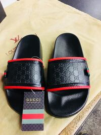 pair of black-and-red slide sandals Fresno, 93705
