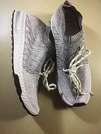 gray Adidas athletic shoes