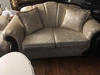 gray fabric 2-seat sofa 26 km
