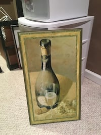 wine bottle and glass painting