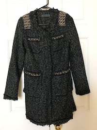 Black and grey button-up coat