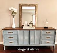 white and brown wooden dresser with mirror