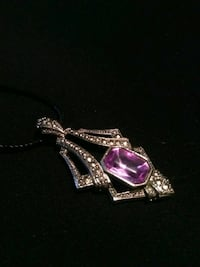 New Large Size Silver Pendant Large Purple Emerald Cut Stone Necklace