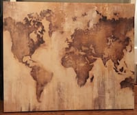 "30""x 37"" Brown & Beige World Map Wall Art  Washington, 20019"