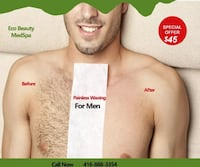 MALE CHEST  PAINLESS WAXING  $45  regular $60 Mississauga