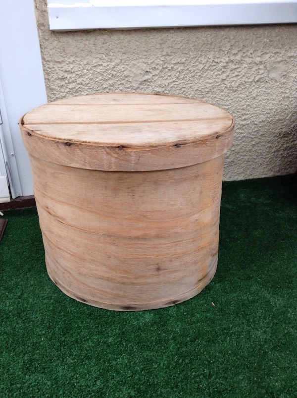 Antique Primitive Style Wooden Cheese Box Large Size