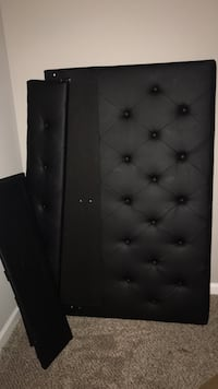 Full Black leather tufted headboard