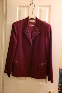 women's jacket .size 12, burgundy with sequins on  Vaughan