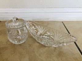 Glass sugar bowl and butter bowl:)