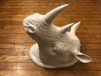Wall-mounted rhino head