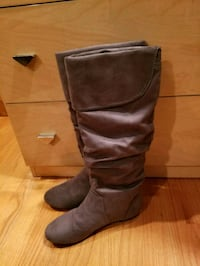 Tall Gray Slouchy Boots