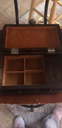 Antique wooden music jewelry box