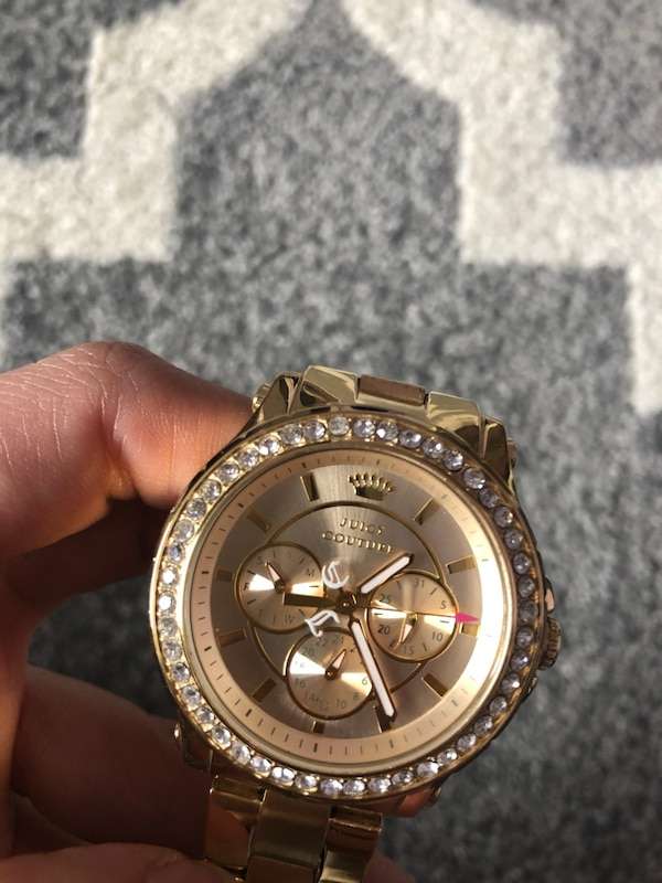 Used Real Authentic Juicy Couture Gold Watch With Zirconium Diamonds
