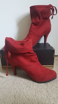 pair of red suede heeled booties Centreville, 20120