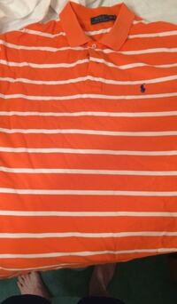orange and white striped polo shirt Corbin, 40701