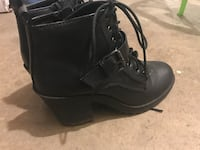 Pair of black leather 1-buckled lace-up chunky-heeled ankle-length boots Edmonton, T5W 4R4
