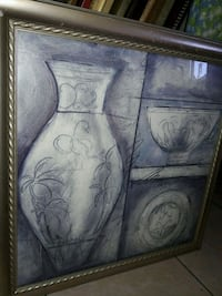 grey and white vase and bowl painting