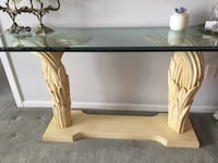 Rectangular glass top console table with white painted wood base  Boston, 02108