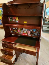 Stanley desk with hutch and TV table. Dark brown. Excellent condition.