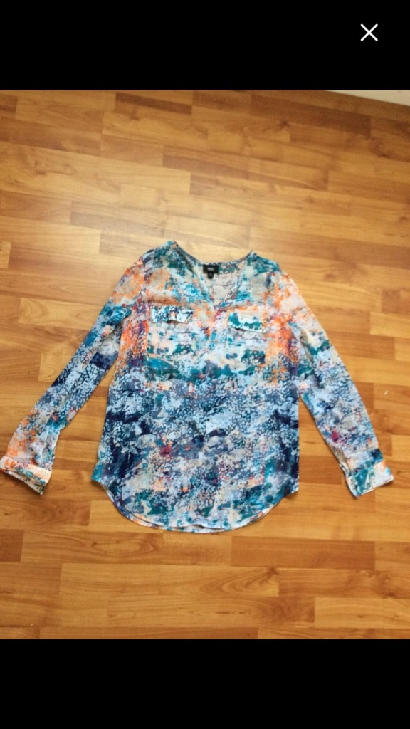 Blue, white, and orange long-sleeve top(small)