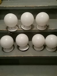 7 round  milk glass Ceiling lights for hallways ,bathrooms and more