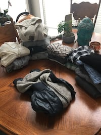 Winter/fall clothes.  12 long sleeved shirts, 6 sweaters, and 1 pleather jacket Spruce Grove, T7X 0S4