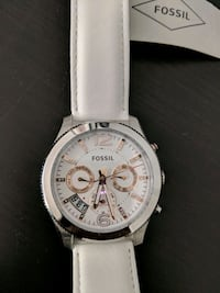 round white chronograph watch with white leather s San Jose, 95134