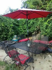 rectangular black patio patio table with umbrella set West Babylon