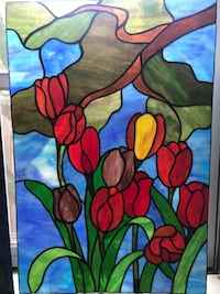 """Tulips 30"""" X 20"""" vintage stained glass San Diego, 92116"""