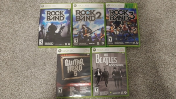 Rock Band 1,2,3, Guitar Hero 5, Beatles Rock Band and two guitars