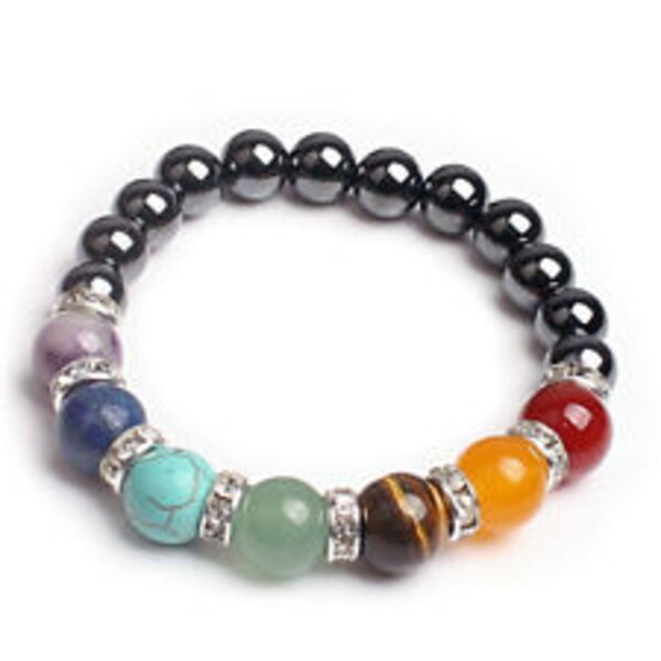 Chakra Hematite Bracelet Healing Magnetic Therapy Stretch Stone Beaded 7.5inch