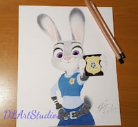 Original portrait of Judy Hopps. Size 8x10 inches