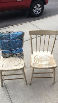 two brown wooden framed white padded chairs Pocatello, 83204